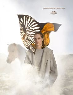 "Metamorphosis, an Hermes Story. ""Zebra Pegasus"" silk twill scarf. Hermès 2014 autumn-winter campaign. #hermes #silk"