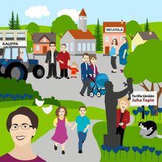 Tältä näyttää kristillisdemokraattien ihannekylä -illustration @ Stina Tuominen