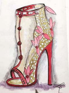 #Shoes #Heels @bebashoes| #FashionIllustrations| Be Inspirational ❥|Mz. Manerz: Being well dressed is a beautiful form of confidence, happiness & politeness Shoe Sketches, Dress Sketches, Fashion Sketches, Trendy Fashion, Fashion Art, Fashion Shoes, Female Fashion, Beaded Shoes, Creative Shoes