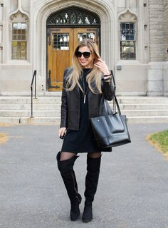 soft leather jacket and dress by @jjillstyle  / The Boston Fashionista