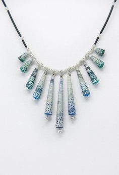 Blue and grey recycled paper bead Christmas necklace by Fracmatic, $20.00