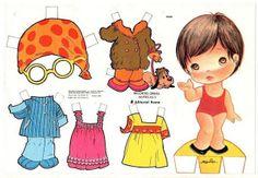 Paper dolls to cut - Kindergarten / Paper dolls with clothes to cut sets / Beybiki. Paper Dolls Book, Vintage Paper Dolls, Paper Toys, Paper Crafts, Sweet Memories, Childhood Memories, Kit Scrapbook, Dora, All Paper