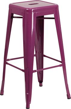 Flash Furniture Purple Bar Stool at Lowe's. The clean lines and simple design of this industrial style indoor-outdoor backless bar stool will complement your home or restaurant decor. Metal Stool, Metal Bar Stools, Counter Stools, Bar Counter, Outdoor Bar Stools, Patio Bar, Purple Bar Stools, 30 Inch Bar Stools, Backless Bar Stools