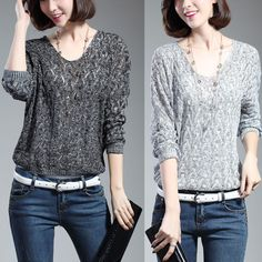 New Korean Women Lady Knit Tops Blouse Solid Batwing Loose Jumper Sweater