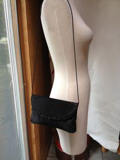 Vintage 1990s satin ruffle black shoulder bag by RightBankGirl, $8.12