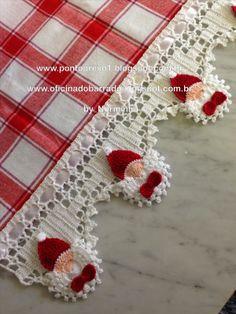 crochet edging or trim, Santa Claus face with bow Ponto Preso1: CROCHE - Em tempos de Natal ...