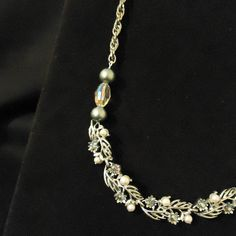 Upcycled Silver Necklace with Green Pearls and by elsy1477 on Etsy, $11.00