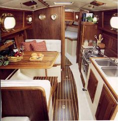 small boat interiors southern renaissance man top picks for small cruising sailboats small sailing boat interiors Sailboat Living, Living On A Boat, Boot Dekor, Liveaboard Sailboat, Liveaboard Boats, Sailboat Interior, Small Sailboats, Sailboats For Sale, Boat Projects
