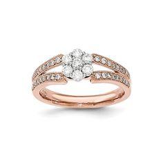 14K Two-Tone Gold White and Rose Gold Diamond Flower Ring – Goldia.com