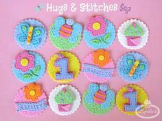 Hugs and Stitches cupcake toppers