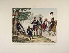 Cavalry, trumpeter and uhlan - page 6 of a Polish illustrated album commemorating the November Uprising in 1831, published by Karol Kozlowski, printed by Czcionkami Drukarni Dziennika Poznan Boskiego, c.1887 Wall Art & Canvas Prints by Juliusz Fortunat Kossak