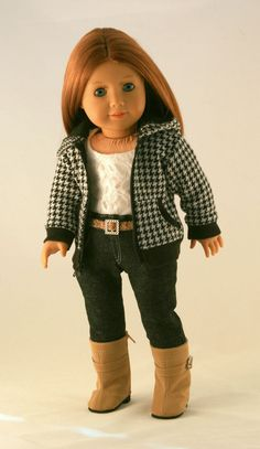 American Girl Doll Clothes - Houndstooth Hoodie, Detailed Jeans, Lined Lace Tank, and Belt. $45.00, via Etsy.