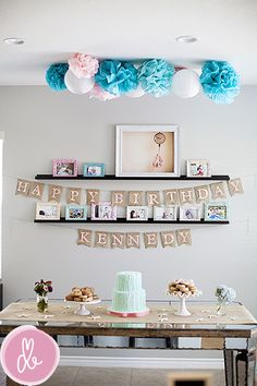 Drew B Photography Love her birthday display of pictures from her baby girls year. Birthday Party Desserts, 1st Birthday Themes, Baby Girl 1st Birthday, Birthday Fun, First Birthday Parties, Birthday Decorations, First Birthdays, Hanging Decorations, Birthday Ideas