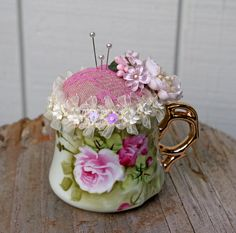 Antique Teacup Pincushion by tatteredtiaras on Etsy
