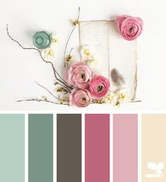 A colour palette that could be used for the book, particularly for props such as cutlery, bowls, plates and even background colours for text-based spreads.