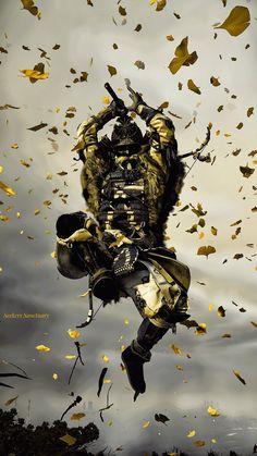 Samurai Warrior Tattoo, Sengoku Musou, Black Background Photography, Bloodborne Art, Wow Video, Samurai Artwork, Ghost Of Tsushima, Cyberpunk City, Japanese Warrior