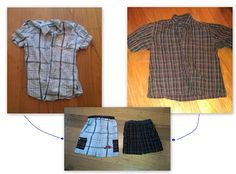 Boys shorts from mans shirts Using Seamingly smitten pattern and tutorial