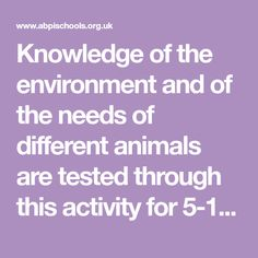 Knowledge of the environment and of the needs of different animals are tested through this activity for year olds (Key stages 1 and Summer Courses, 7 Year Olds, Medicine, Environment, Knowledge, Science, Activities, Website