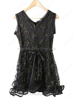 Black Sleeveless Lace Mesh Yoke Embroidery Dress