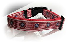 Captain America Inspired Dog Collar/ Red White and Blue Star / Shield /Adjustable Dog Collar / Red Cotton Webbing / Movie Theme / Unisex by SparklePupBoutique on Etsy