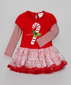 a7e99125ef92 Rare Editions Red Candy Cane Layered Dress - Girls