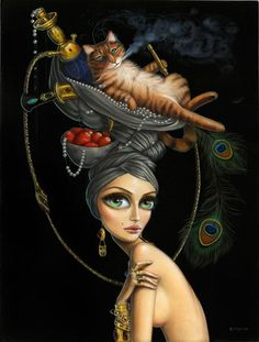 Welcome to the site of pop-surrealist artist Leila Ataya. Learn more about her paintings, art classes & other products like limited edition prints & cards. Surrealism Painting, Pop Surrealism, Fantasy Paintings, Fantasy Art, Drawing Simple, Ray Caesar, Whimsical Art, Surreal Art, Portrait