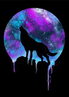 print on steel Animals wolf wolves space galaxy howl unique colorful neon colors pruple violet. This is the greatest galaxy wolf type thing I've ever seen! Artwork Lobo, Wolf Artwork, Galaxy Wolf, Galaxy Art, Galaxy Painting, Galaxy Space, Animal Drawings, Art Drawings, Galaxy Drawings