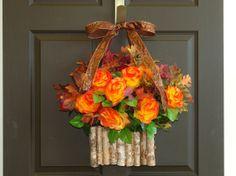 fall wreath autumn wreath Thanksgiving wreath birch by aniamelisa, $78.00