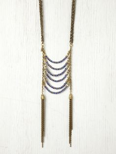 Vanessa Mooney Age of Reason Blue Violet Statement Necklace at Free People Clothing Boutique