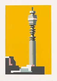 Limited edition linocut print Telecom Yellow by contemporary British printmaker Paul Catherall. London Painting, Linocut Prints, Art Prints, Urban Art, Artist At Work, Pop Art, Contemporary Art, Abstract, Graphic Design Posters