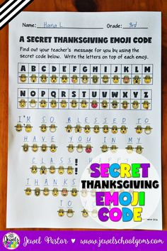 Thanksgiving Activities ★ Emojis Activities ★ Secret Thanksgiving Emoji Code ★ Emojis ★ A SECRET THANKSGIVING EMOJI CODE contains a secret code activity that can come handy during Thanksgiving! You get two kinds of sheets: one that has the secret message in Thanksgiving emoji code and another that has the answer key. The answer key can be shown to the students through the interactive whiteboard. Click through to see it in my TpT store!