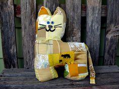 Yellow Kitty Cat - Patchwork Stuffed Animal. $25.00, via Etsy. So cute, must diy for nursery!