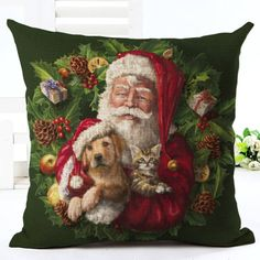Santa Claus Christmas Cushion Cover. 30% proceeds from every purchase goes to animal charities.