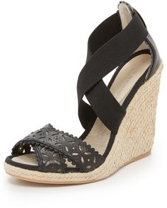 98da6ebbfa Club Monaco Lulloo Wedge Sandals - Perforations accents the crisscross vamp  on these leather-and