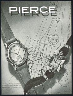 Vintage 1947 Pierce Wrist Watch Models Mid Century Modern Art Print Ad. #pierce #watch #watches #vintage #ads #stawc