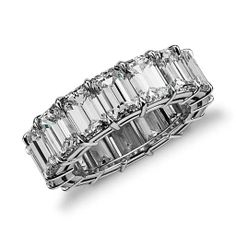 Linear design and extraordinary detail define this diamond eternity ring showcasing sixteen perfectly matched emerald-cut diamonds set in enduring platinum. Emerald Cut Diamond Eternity Ring in Platinum (13.00 ct. tw.)