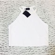 Zara Halter Top PUSH OFFER BUTTON! Zara White Halter Top. Medium. New with tag(:        Payment through Mercari, PayPal, or venmo if possible! Remember Poshmark takes 20% Make offers! Zara Tops Crop Tops