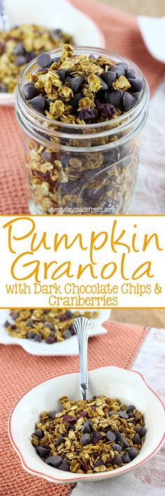 Granola has never tasted more like fall! This Pumpkin Granola with Dark Chocolate Chips & Cranberries is spiced with all the right spices and sweetened with maple syrup. | EverydayMadeFresh.com http://www.everydaymadefresh.com/pumpkin-granola-dark-chocolate-chips-cranberries/