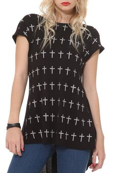Black Silver Cross Tank Top