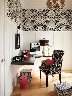Forgo ceiling-to-floor installation and instead treat individual lengths of wallpaper as decorative panels on the wall, framing them with painted moldings. Here, a bold black-and-white pattern in a home office has the effect of art.