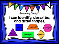 geometry, 2d two-dimensional shapes, first 1st grade ready math unit 6 lesson 26, learning target poster