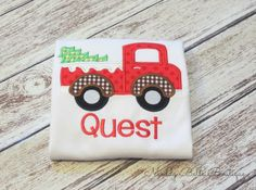 Boys Holiday Truck with Tree Appliqued Shirt - Embroidered Shirt, Christmas, Holiday, Christmas Tree, Truck, Boys Shirt, Personalized on Etsy, $24.00