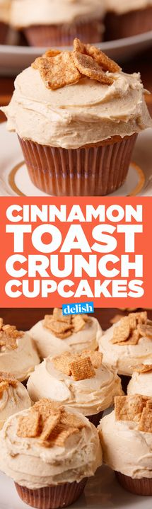 You'll die over the inside of these Cinnamon Toast Crunch Cupcakes. Get the recipe from Delish.com.