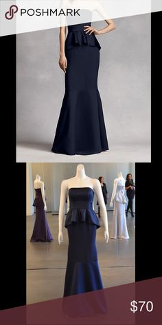 Blue Satin Peplum Vera Wang Bridesmaid Dress Super pretty bridesmaid dress from the Vera Wang White collection, and very flattering! Worn once before, in perfect condition! Color is exactly like in the second picture. Willing to go lower, or accept a reasonable offer Vera Wang Dresses
