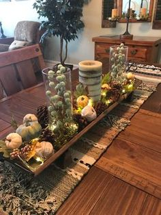 This Rustic Wood Runner Tray is the perfect place for you to display your style! Fill it with colorful orbs or candles to create a masterpiece of your design. Fall Dining Table, Dining Room Table Decor, Autumn Table, Autumn Decorating, Fall Decor, Table Centerpieces, Table Decorations, Fall Fireplace, Centre Pieces