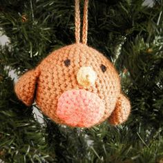 crochet amigurumi Christmas tree robin bird bauble ornament decoration by WiseFriday on Etsy