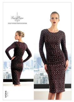 Vogue Sewing Pattern 1314 Misses Sizes Easy Tracy Reese Fitted Long Sleeve Knit Dress Vogue Patterns, Mccalls Patterns, Fashion Catalogue, Miss Dress, Ruched Dress, Bodycon Dress, Knit Dress, Dress Sewing, Stylish Dresses