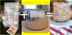 8 Can Chicken Taco Soup - make a giant batch & freeze individual containers. Give to new moms, someone having surgery,  new neighbor, etc. They can just thaw it out & reheat when they want.