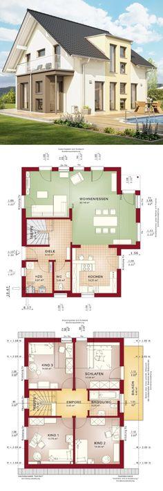 Einfamilienhaus Neubau modern mit Satteldach Architektur & Wintergarten Erker mit Balkon - Haus bauen Grundriss Fertighaus Celebration 137 V5 Bien Zenker Hausbau Ideen - HausbauDirekt.de