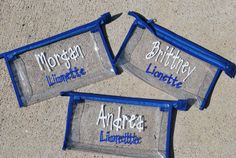 Personalized Clear Cheer Bag with Team Name by LimeTreeGifts on Etsy https://www.etsy.com/listing/158891765/personalized-clear-cheer-bag-with-team